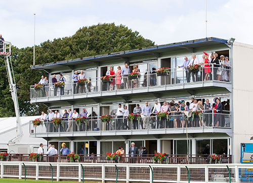 View of our Rothesay Stand Hospitality Boxes from trackside